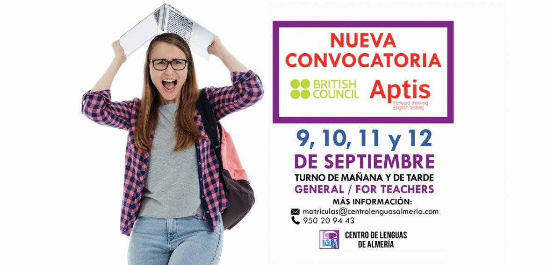 NUEVA CONVOCATORIA APTIS SEPTIEMBRE 2019