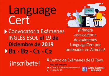 Convocatoria Exámenes INGLÉS ESOL el 19 de Diciembre de 2019