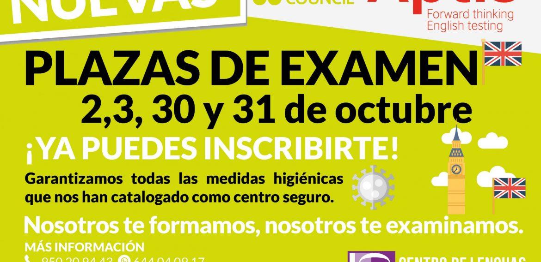 CONVOCATORIA DE EXÁMENES APTIS PARA OCTUBRE DE 2020: 2, 3, 30 Y 31